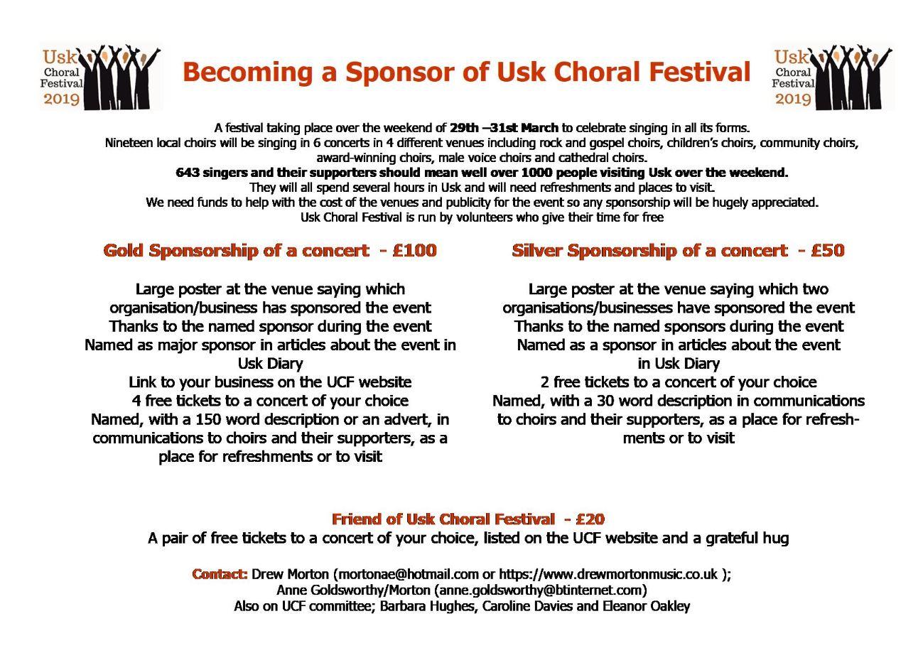 Sponsorship Packages Usk Choral Festival