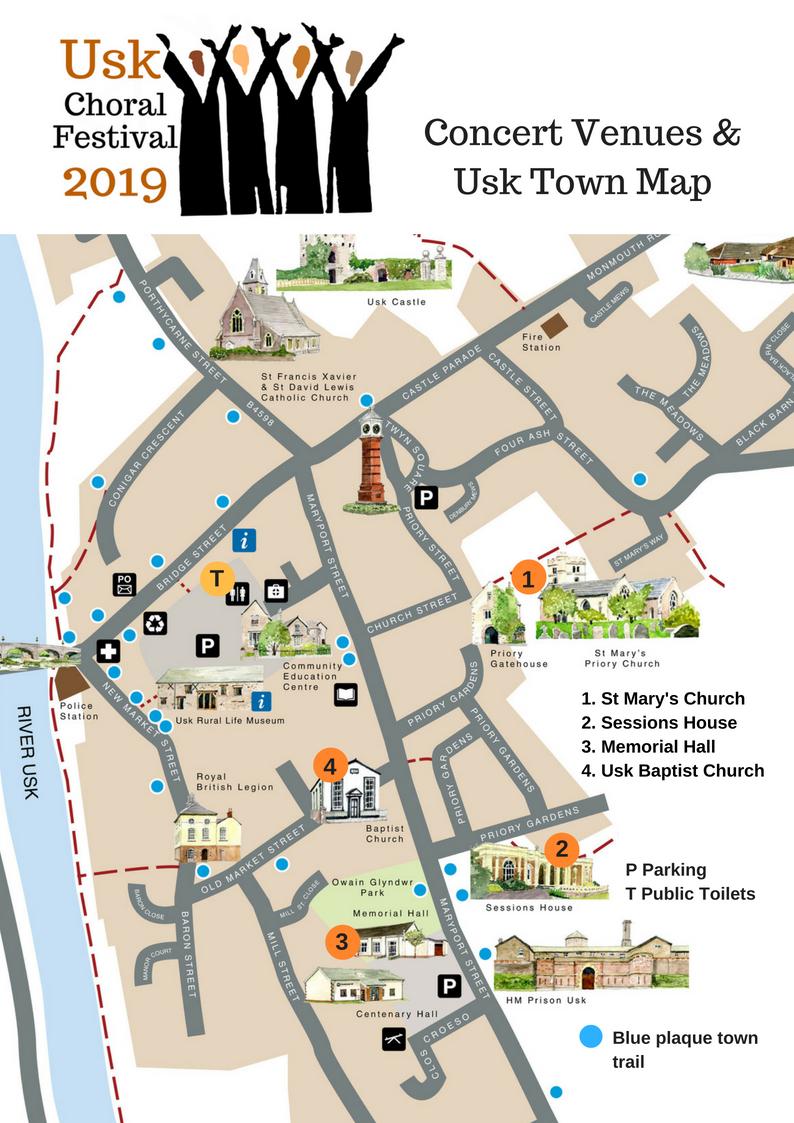 Usk Choral Festival 2019 Map